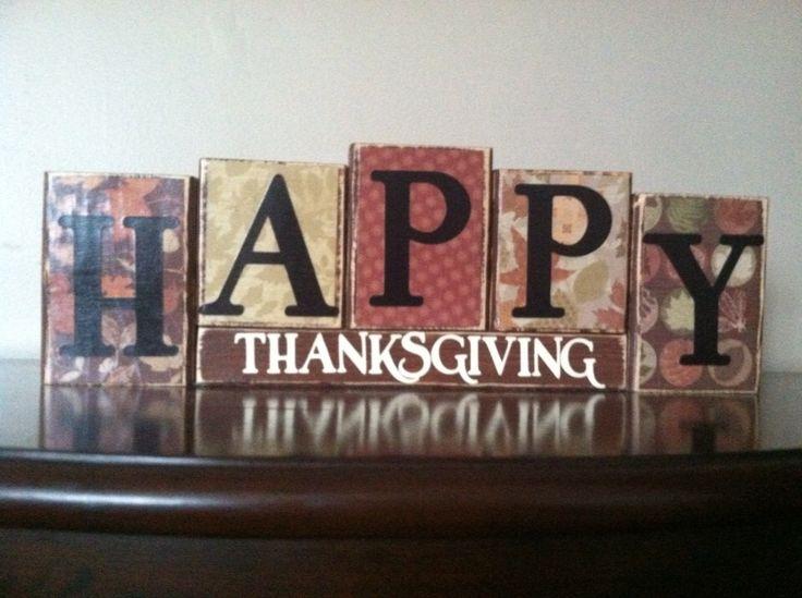 Wood Happy Thanksgiving blocks, fall decor, thanksgiving decoration,  thanksgiving sign by WoodnExpressions on Etsy https://www.etsy.com/listing/205840750/wood-happy-thanksgiving-blocks-fall