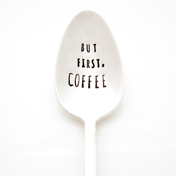 But First, COFFEE. Hand stamped spoon by Milk & Honey. Coffee lover gift idea. by MilkandHoneyLuxuries on Etsy https://www.etsy.com/listing/180763553/but-first-coffee-hand-stamped-spoon-by