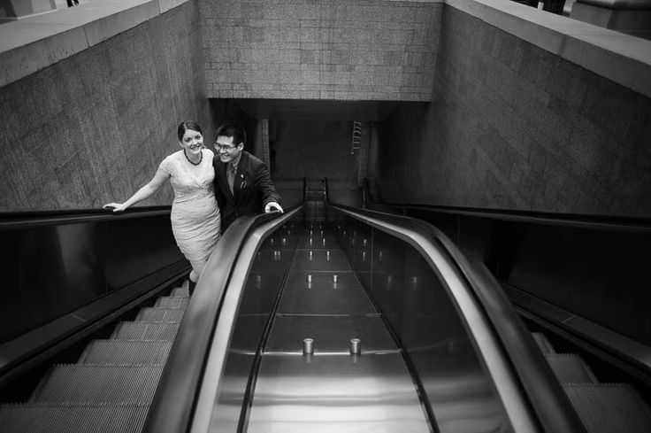 Arlington courthouse wedding photography - on the metro escalator.
