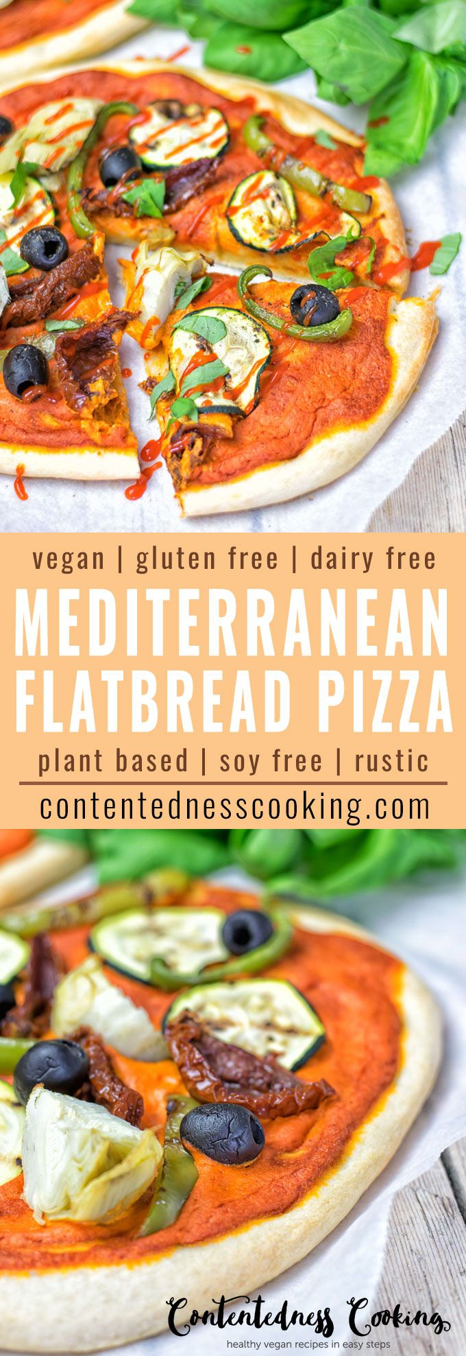 This Mediterranean Flatbread Pizza is incredibly easy, delicious done in  just 20 minutes and dairy free. Makes an amazing vegan and gluten free lunch, dinner or snack. It's made with olives, sun dried tomatoes and a mouthwatering homemade Muhammara.