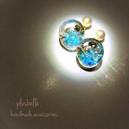 ガラスドーム&コットンパールピアスblue by plusbelle アクセサリー ピアス