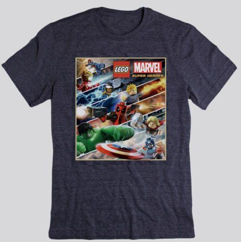Lego Marvel Super Heroes Game T Shirt Avengers x Men Spiderman Deadpool Xbox 360 | eBay