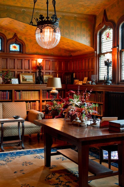 Hudson River Valley Victorian mansion library. Wonder if it has a fireplace? I could so live in this room.