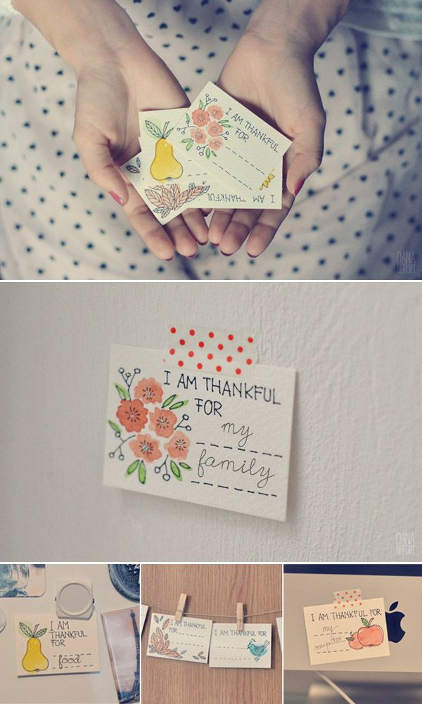 printable thankful notes from Hello Bee.  Perfect for thanksgiving.