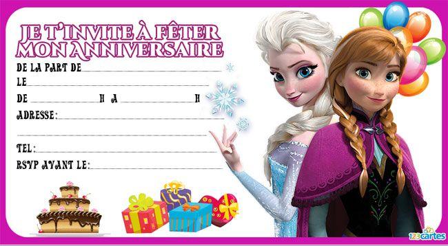 Cartes d'invitation gratuites pour un anniversaire Reine des neiges