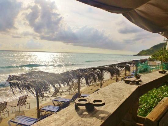 South Friars Beach: view of the beach from Shipwreck Bar & Grill, St. Kitts