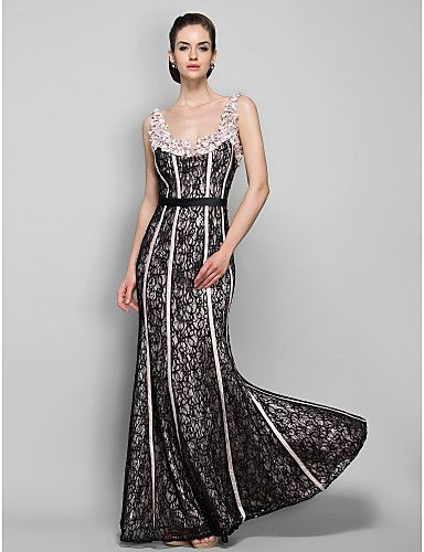 Homecoming Military Ball/Formal Evening Dress - Champagne Plus Sizes Sheath/Column Straps Floor-length Lace – USD $ 69.99
