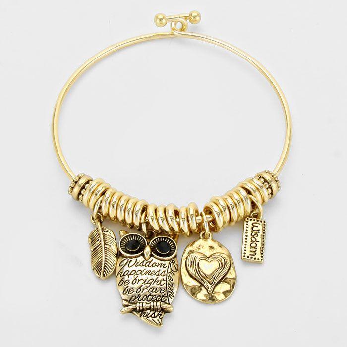 Owl Charm Metal Bracelet €22
