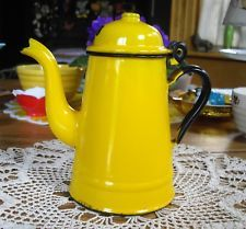 Vintage Poland Enamelware Yellow Coffee Pot w/ Lid Camp Cook ware  ~