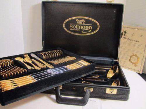 SBS-Bestecke-Solingen-Full-set-72-pieces-23-24-CT-Gold-Plate-Flatware-Silverware