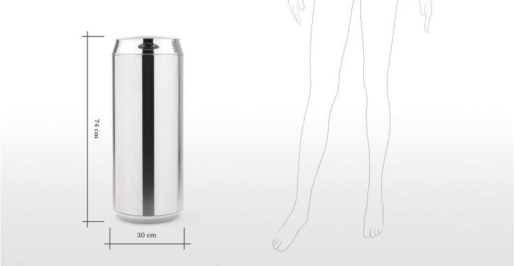 Sensé Bin, une poubelle automatique canette 42L, inox | made.com