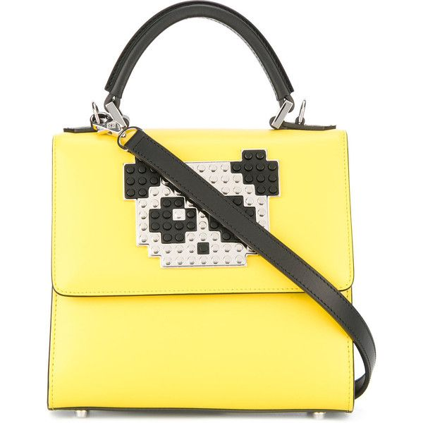 Les Petits Joueurs panda patch tote ($1,174) ❤ liked on Polyvore featuring bags, handbags, tote bags, yellow, tote purses, leather purse, yellow purse, yellow tote and yellow leather handbags