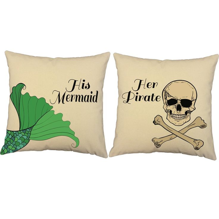 Cute couple pillows! These mermaid pirate throw pillows are a great addition to any nautical room. They make decorating fun and easy! #roomcraft