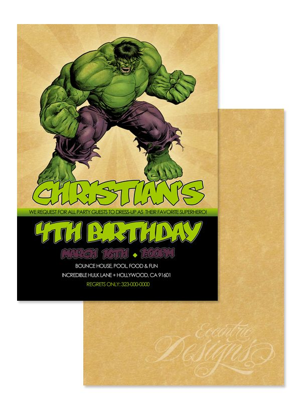 122 best images about Children Birthday Party Invitation Designs – Hulk Party Invitations