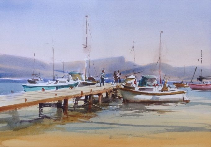 jETTY AND bOATS-Hyeres-France WC 35 x 55 cm