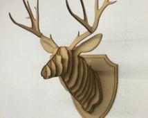 Grote / kleine houten herten hoofd Kit Wall Art Decor - Lasergesneden hert hoofd met geweien 3D dierlijke hoofd