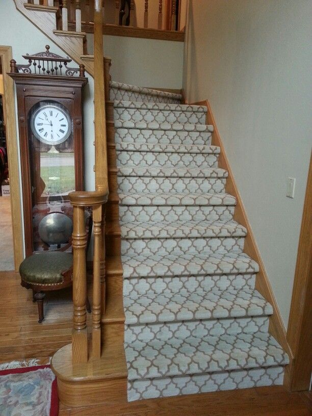 Milliken Patterned Carpet In Stairs.