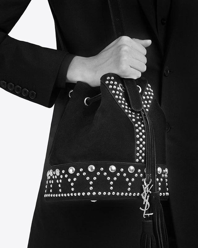 Must have нового сезона - богемная сумка Y Studs Bucket Bag от @ysl Она уже доступна в киевском бутике Saint Laurent @basseynaya6 #saintlaurent #saintlaurentparis #yslkiev  via ELLE UKRAINE MAGAZINE OFFICIAL INSTAGRAM - Fashion Campaigns  Haute Couture  Advertising  Editorial Photography  Magazine Cover Designs  Supermodels  Runway Models