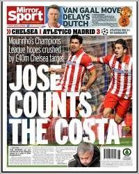 Portada de Mirror Sport: Jose counts the Costa