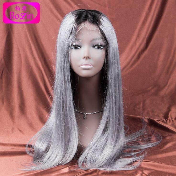 Heißer Verkauf Silber Ombre Grau Menschliches Haar Perücken Brasilianischen Volle Spitze spitze Vorne Grau Haar Perücken Mit Dunklen Wurzeln Menschlicher Haare Perücke mode