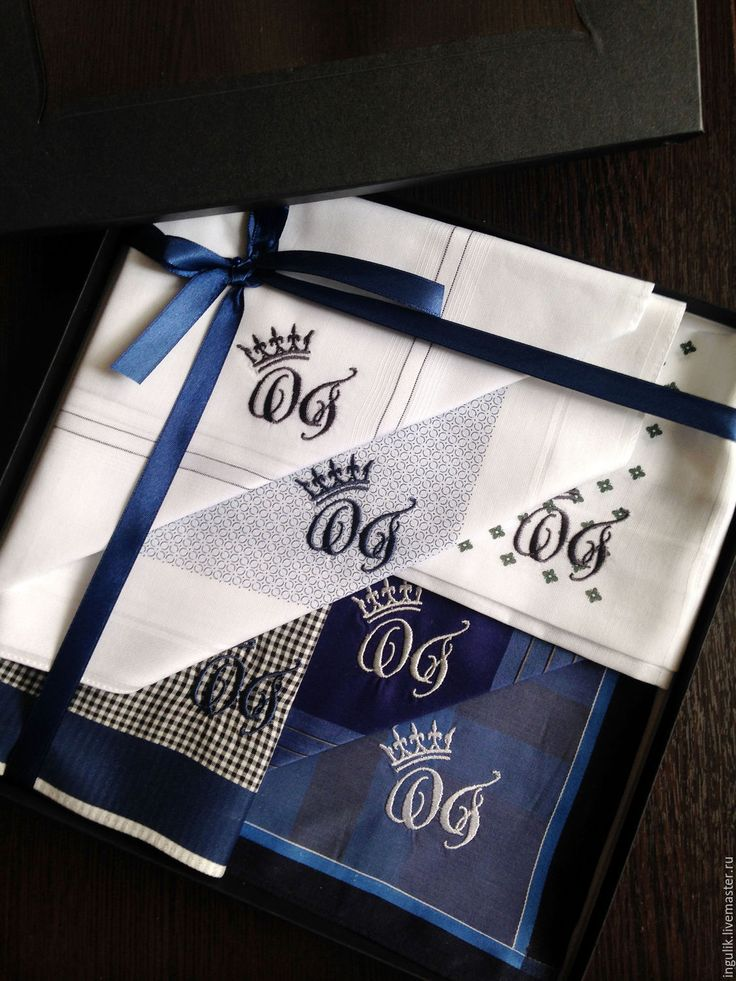 Купить Комплект Синий Носовые платки мужские Хлопок с вышивкой Монограмма - вышивка, вышивка на одежде