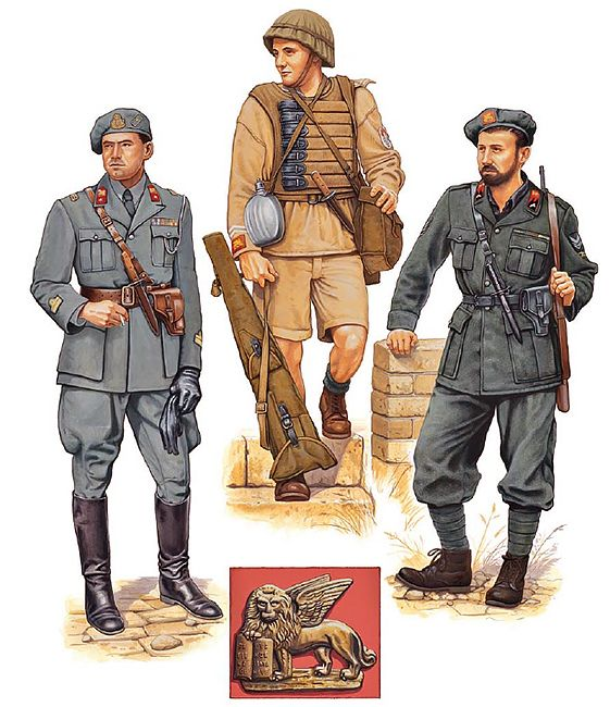 """San Marco Naval Infantry Regiment, 1940-42"" • Capitano di corvetta; Italy, 1940  • Marò guastatore; Libya, 1942  • Vice capo squadra attached from Blackshirt MILMART unit; Italy, 1942"