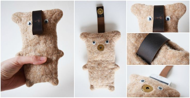 """Technique: felted Material: wool, leather  phone case made of merino wool.  Alphonse is a lovely brown bear. :) Pull strap with magnetic closure helps you to get out the phone of the """"belly"""".  Size: 17 x 12 cm (Height x Width)"""