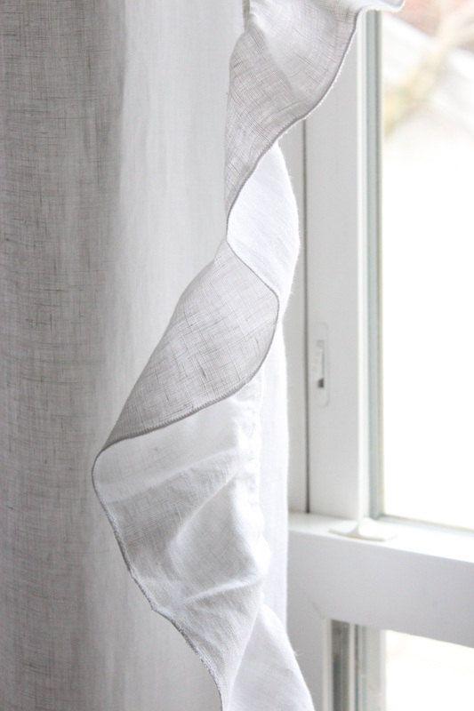 Linen curtain panel with ruffed edge by Lovely Home Idea. White or custom color. Custom length