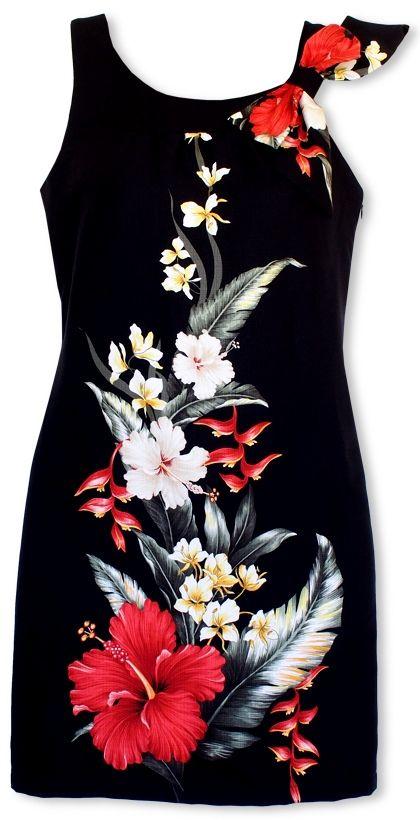 royal hibiscus black hawaiian lana dress