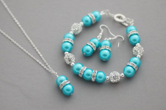 Blue Bling Set SilverPlated Aqua Blue by CherryBlossomJewels0, £26.00