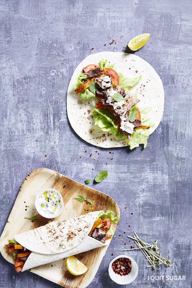 Lamb Gyros. Juicy meat, fresh salad, chips and a tangy sauce makes Gyros an absolutely delicious Greek dish. – I Quit Sugar