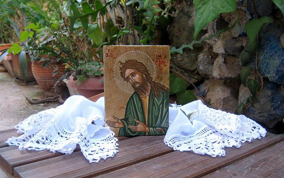Byzantine icon St John the Baptist-painted by hand with