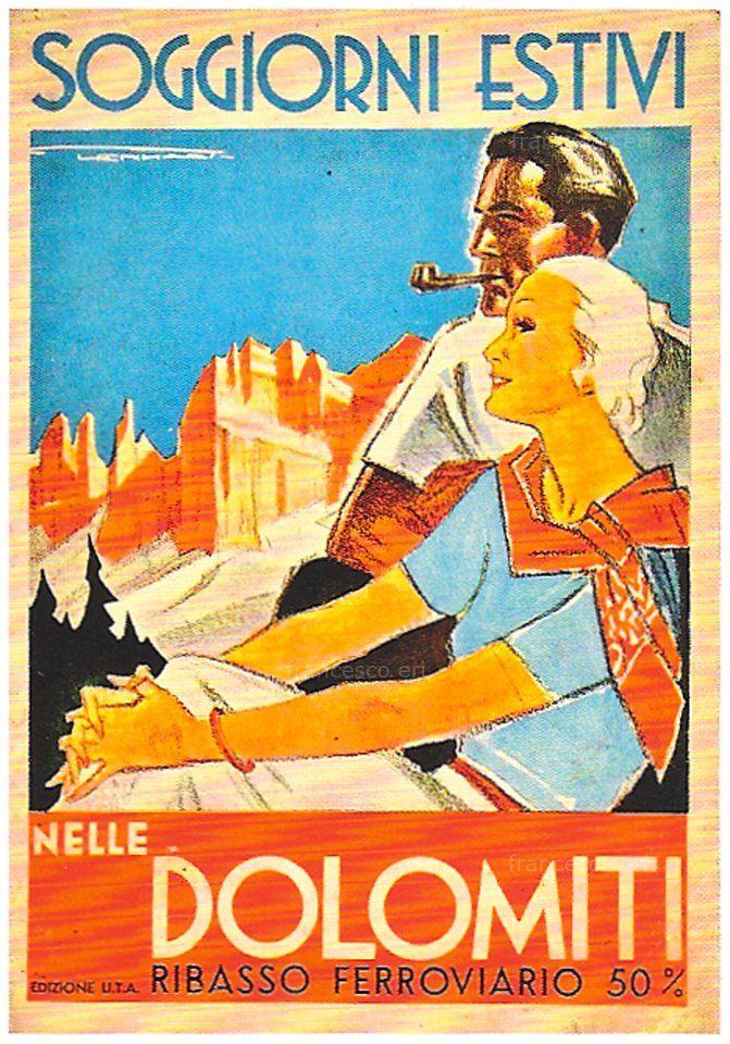 Vintage Italian Posters ~ #Vintage #Italian #posters ~ Dolomiti vintage poster