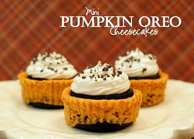 Mini Pumpkin Oreo Cheesecakes. I must make these!: Pumpkin Oreo, Oreo Cheesecake, Pumpkin Recipe, Food, Minis Pumpkin, Pumpkin Cheesecake, Fall Desserts, Minis Cheesecake, Cream Chee