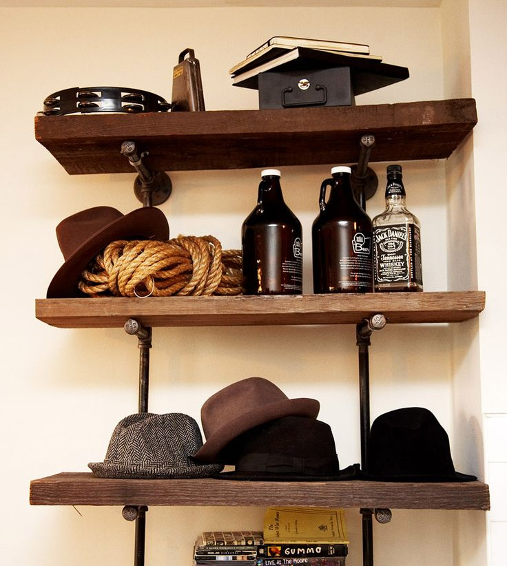 I have tried to build shelves like this a few times, unsuccessfully. Love the vintage industrial look.