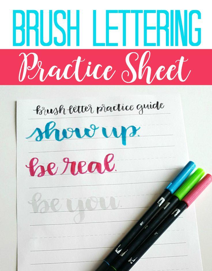 Brush Lettering Practice Sheet