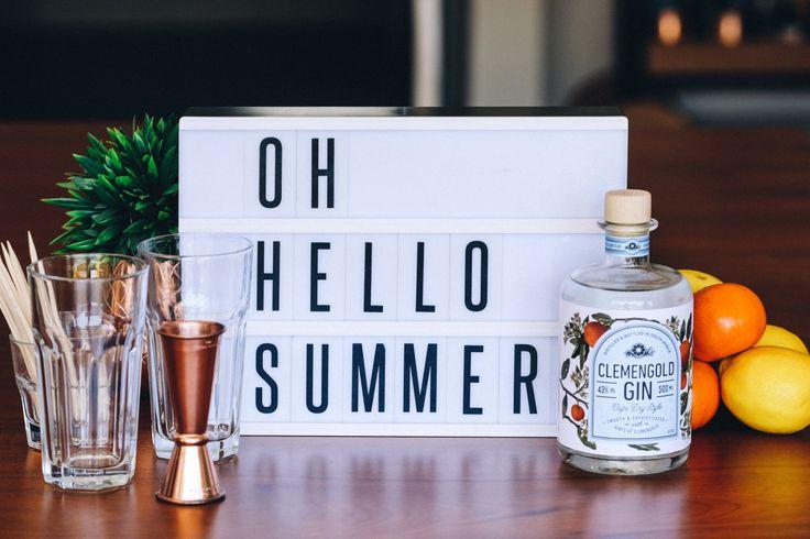 Drinks, Cocktails, Beverages, Bar, Home Bar, Gin, Club Soda, Soda Water, Sugar, Lemon, Clementine, Orange, Cocktail Bar, Ingredients, Strainer, Clemengold Gin, Copper Tools, Tom Collins, Sundowners, Summer Drink