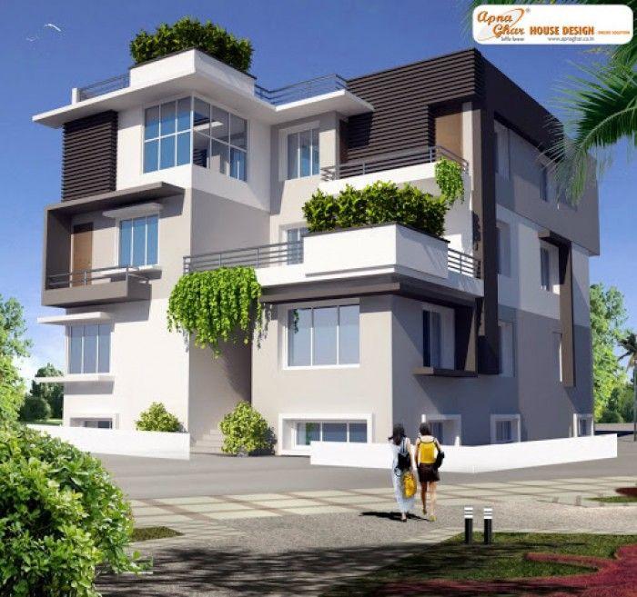 Triplex Home Elevation House Elevation House Exterior Contemporary House Design