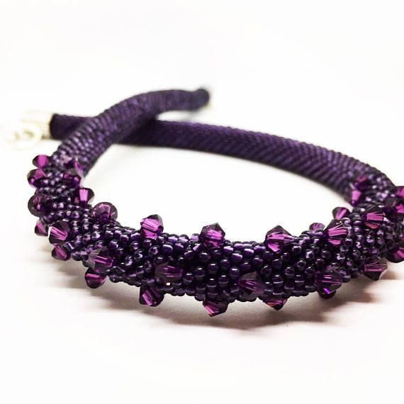Purple  necklace with Swarovski bicons