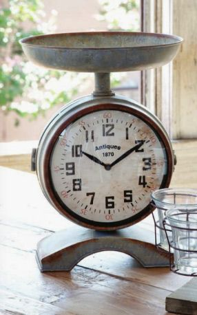 Vintage Style Scale Clock: Decor, Kitchens, Farms House, Farmhouse, Styles, Vintage Scale, Scale Clocks, Style Scale, Vintage Style