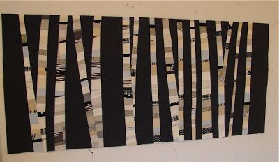 Tallgrass Prairie Studio: Night Forest - Abstract Birch Trees (Quilt)