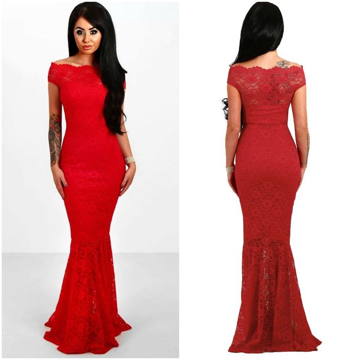 AU New Women's Off shoulder Lace Overlay Red Evening Formal Maxi Dress SZ 8-16