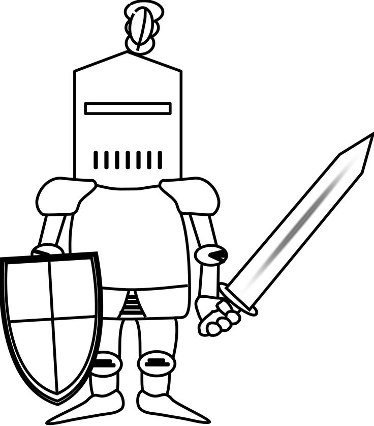 Ritter Knight Black White Line Art Coloring Book Colouring October ... - ClipArt Best - ClipArt Best