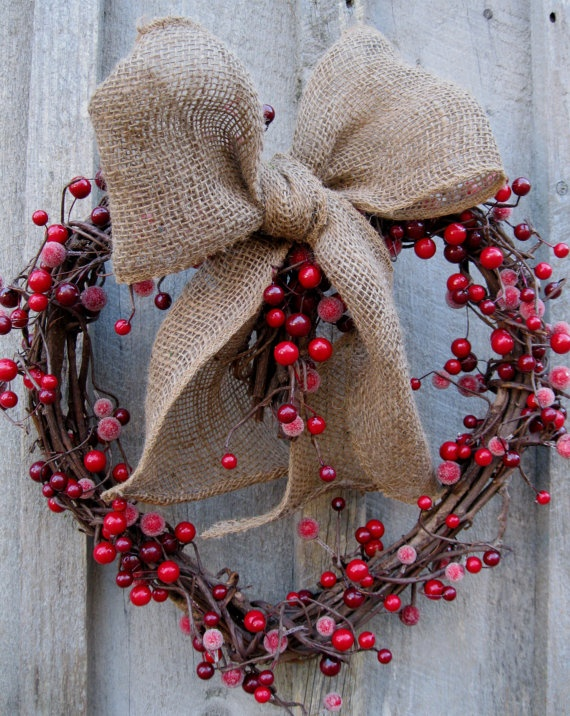 Love the berries -- as we move from Christmas towards Valentines . . . the burlap gives it just a bit of rustic charm, don't you thin?