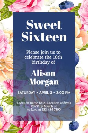 Design amazing party invitations on PixTeller.com #templates #images #photomaker #celebration #inspirational #sweetsixteen #birthdayparty