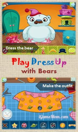 play dress up game with lovely bears - kids can dress the bears, design their own outfits. #kidsapps