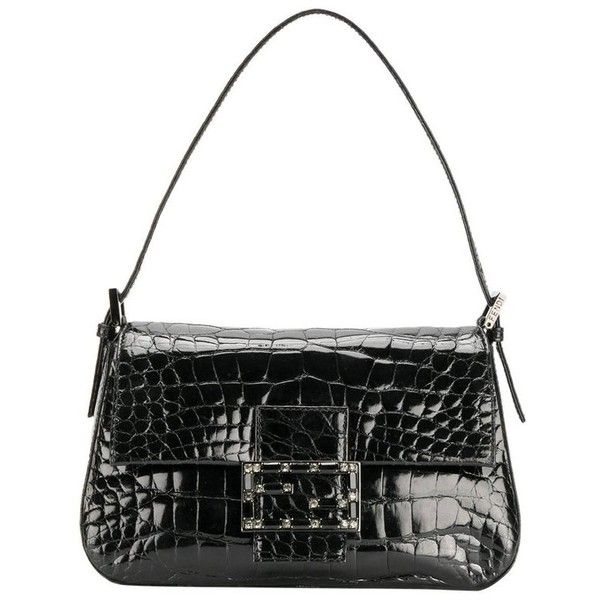 Preowned Fendi Black Crocodile Leather Vintage Bag, 2000s ($3,138) ❤ liked on Polyvore featuring bags, handbags, black, top handle bags, fendi, crocodile skin purse, pre owned handbag, crocodile leather purse and crocodile leather handbags