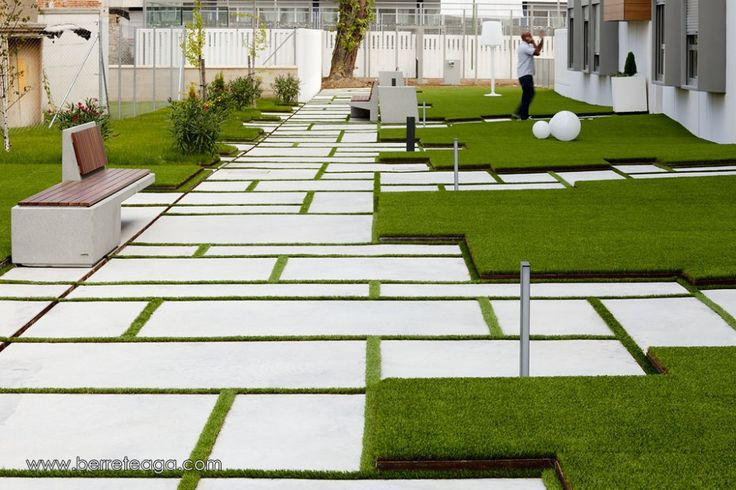 Contemporary landscape design. Large format concrete steppers through lawn with slightly raised 'blocks' of lawn. Pinned to Garden Design by Darin Bradbury.