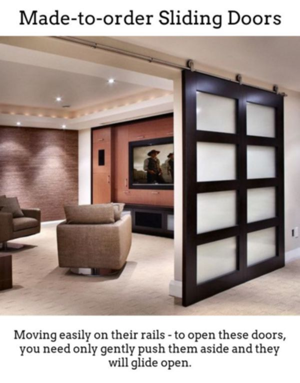 Sliding Doors Build Unique Bright Noticeable Room Designs With Thermally Insulated Sliding A Modern Media Room Design Media Room Design Interior Door Styles