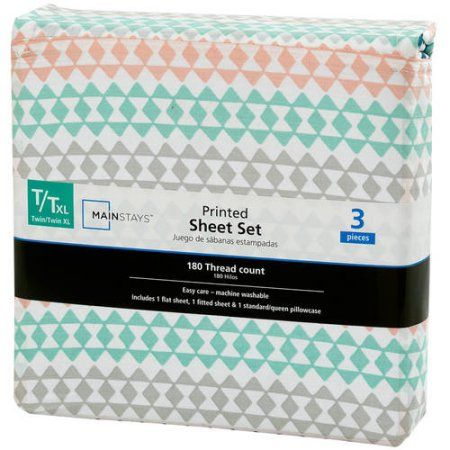 Mainstays 180 Thread Count Sheet Set, Twin/Twin XL, Geo Triangle, Multicolor